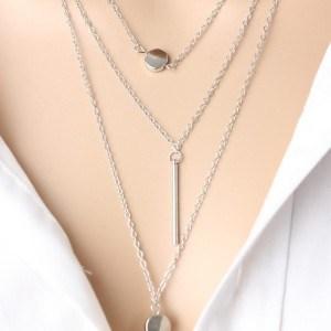 Halskette - Multi Reihen - Y - Silber 3