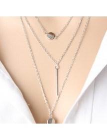 Necklace - Multi-Row - Y - Silver-3