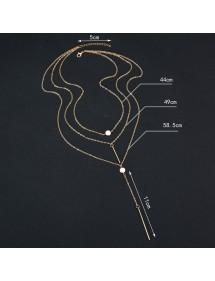 Necklace - Multi-Row - Y - Silver-4