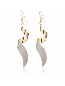 Earrings Premium - Twisted - Spiral - Golden 3