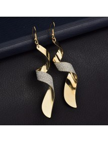 Earrings Premium - Twisted - Spiral - Golden 2