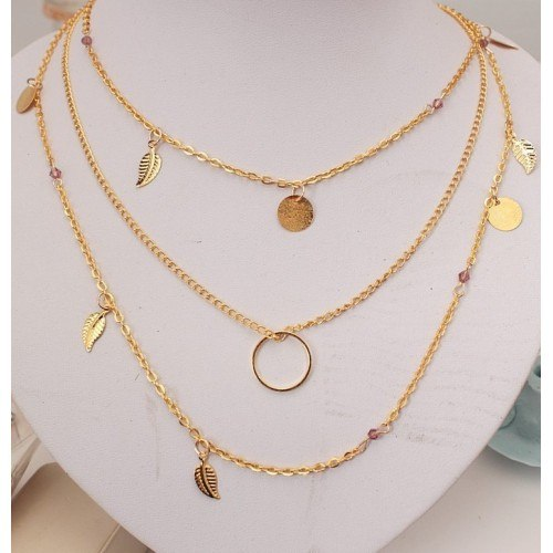 Necklace - Multi-Row - Feather - Golden -