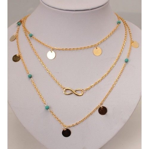 Collier - Multi Rangs - Infini - Doré