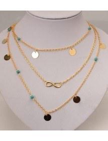 Necklace - Multi-Row - Infinite - Golden