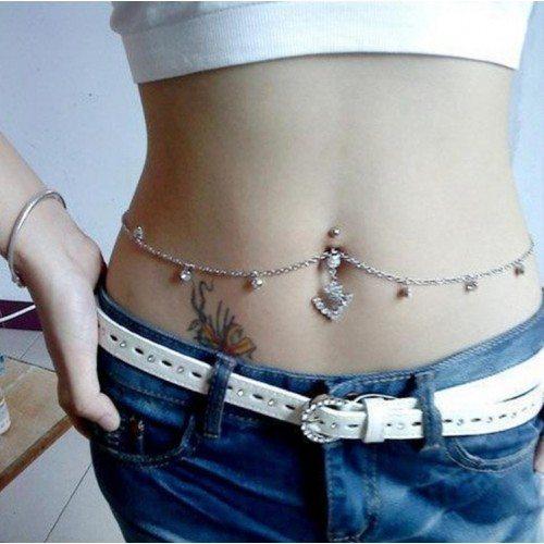Piercing Nombril - Chaîne Sexy- Acier Chirurgical - Blanc