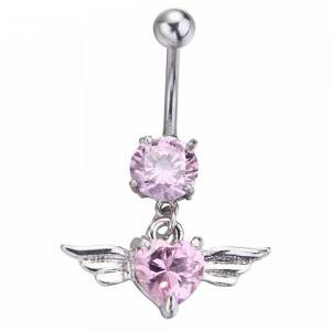 Piercing Navel - Angel Wings - Heart - Surgical Steel - Pink