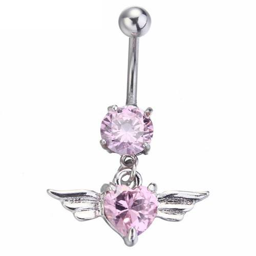 Piercing Navel - Angel Wings - Heart - Surgical Steel - Pink