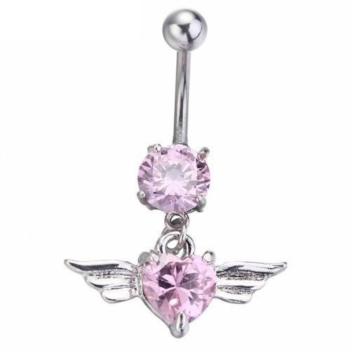 Piercing Nombril - Ailes D'Ange - Coeur - Acier Chirurgical - Rose
