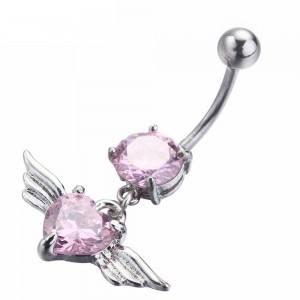 Piercing Buric - Aripi De Înger - Inimă De Oțel Chirurgical - Roz 2