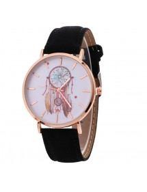 Reloj Mujer - Negro Dream V2 - Atrapasueños - Piel Sintética - Negro