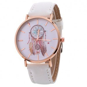 Montre Femme - White Dream V2 - Attrape-Rêve - Simili Cuir - Blanc