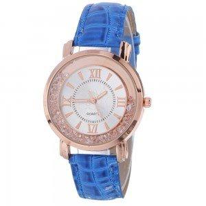 Montre Femme - Sables Mouvants QuickSand - Luxe - Perles - Cuir Bleu