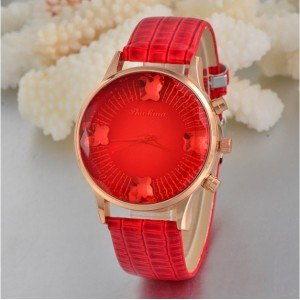 Watch Woman - Flower Bomb 3D - Imitation Leather - Red