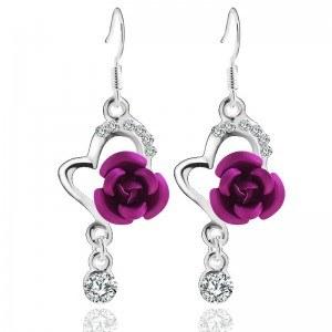 Orecchini Cuore Rosa Viola