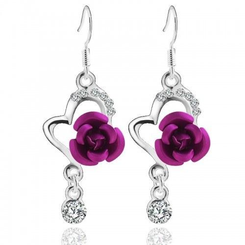 Boucles D'Oreilles Rose Du Coeur Violet
