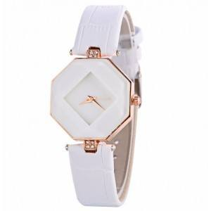 7cc6082ac17 Relógio De Mulher - Geo Design - Pu Couro - Branco