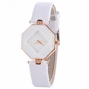 Watch Woman - Geo Design - Pu Leather - White