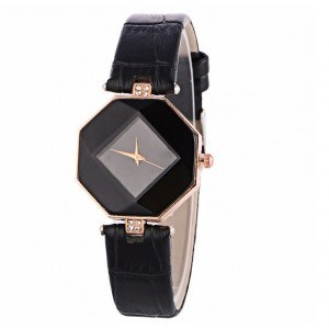 Watch Woman - Geo Design - Faux Leather - Black