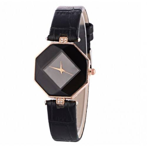 Reloj Mujer - Geo De Diseño De Imitación De Cuero - Negro
