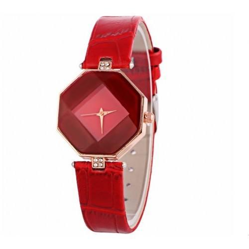 Montre Femme - Geo Design - Simili Cuir - Rouge