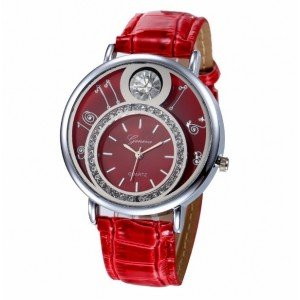 Watch Woman - Double Dial and Diamonds - Leather - Red