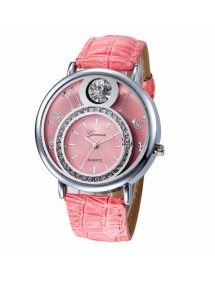 Watch Woman - Double Dial and Diamonds - Leather - Pink
