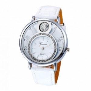 Reloj Mujer - Marcado Doble y Diamantes - Cuero - Blanco