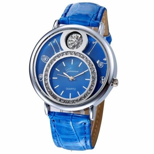 Montre Femme - Double Cadran et Diamants Bleu