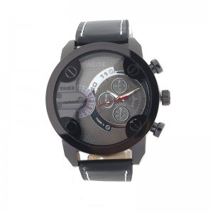 Men's Watch - Big Dial - Pu Leather - Black