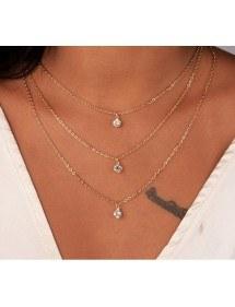 Collar - Multi-Fila - el Oro y los Diamantes de Cristal de Oro