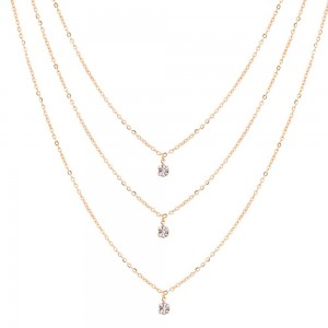 Necklace - Multi-Row - Gold and Diamonds-Crystal - Golden 2