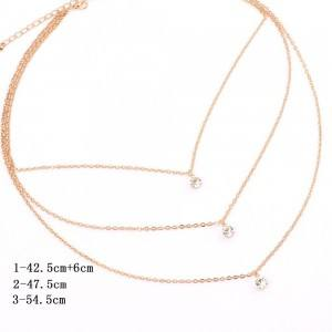 Necklace - Multi-Row - Gold and Diamonds-Crystal - Golden 4