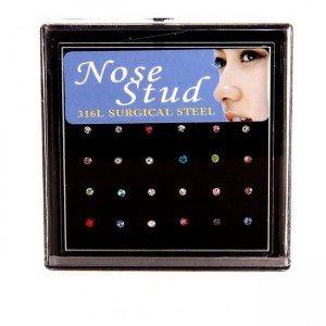 Piercing Naso - confezione da 24 pezzi - in Acciaio Chirurgico - multi-colore