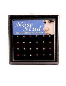 Piercings de Nariz - pack de 24 - Acero Quirúrgico - multi-color