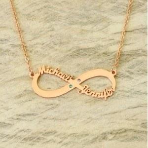 Collar Infinito Oro Rosa 2 Nombres De Las Piedras De Nacimiento + Caja De Regalo