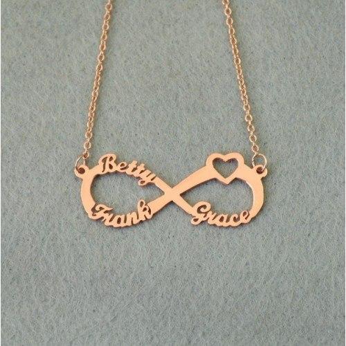 Collier Infini Doré Or Rose 3 Prénoms + Coffret Cadeau