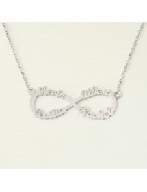 Necklace Infinity Silver 4 Names + Gift Box