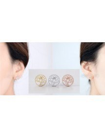 Earrings Tree of Life Or_Rose_Argent