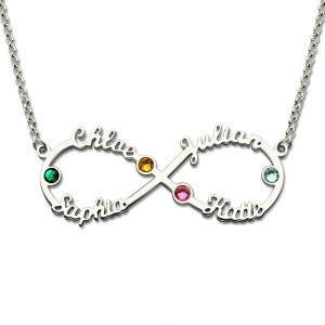 Necklace Infinity Silver 4 First Name Stone Birth + Gift Box