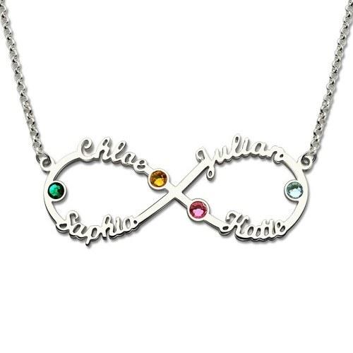 Halskette Unendlichkeit Silber 4 Vornamen Steine Geburten + Geschenkbox