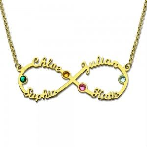 Necklace Infinity Golden 4 First Name Stone Birth + Gift Box