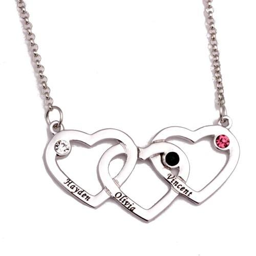 Necklace Triple Heart 3 First Name Stone Birth + Gift Box