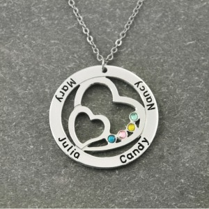 Necklace Double Heart Silver Plated 4 First Name Peter Birth Gift Box