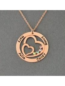 Collier Double Coeur Or Rose 4 Prénoms Pierre Naissance Coffret Cadeau