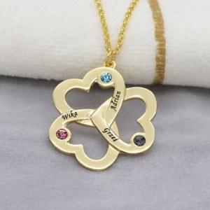 Collier Triple Coeur Trèfle 3 Prénoms Doré + Coffret Cadeau