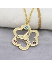 Halskette Triple-Herz-Kleeblatt-3 Vornamen Vergoldet + Geschenkbox