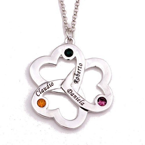 Necklace Triple Heart Clover 3 Names Silver + Gift Box