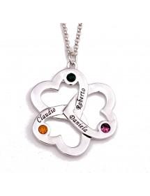 Collar Triple Corazón Del Trébol 3 Nombres Plata + Caja De Regalo