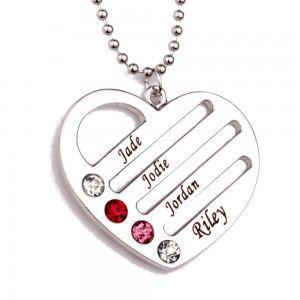 Collar Personalizado Corazón 4 Primer Nombre De Pedro De Nacimiento + Caja De Regalo
