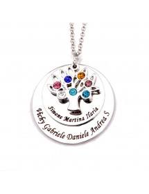 Necklace Custom Tree of Life 7 first Names Gift Box